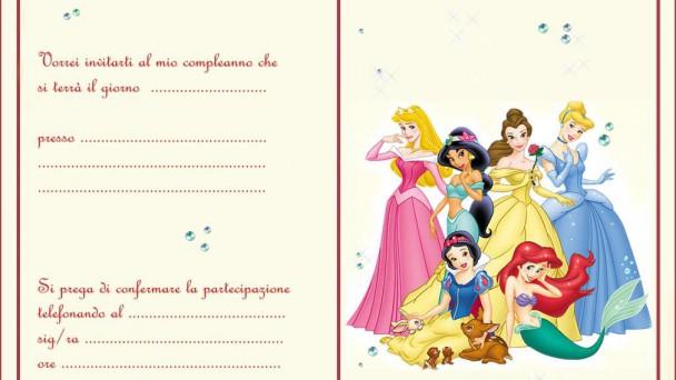 biglietti d'invito a tema principesse