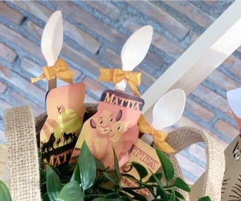 Gadget di fine festa a tema Re Leone: i cucchiaini.