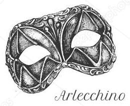 Maschera di Arlecchino da scaricare.