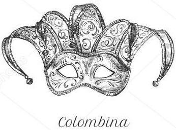 Maschera di Colombina da stampare.