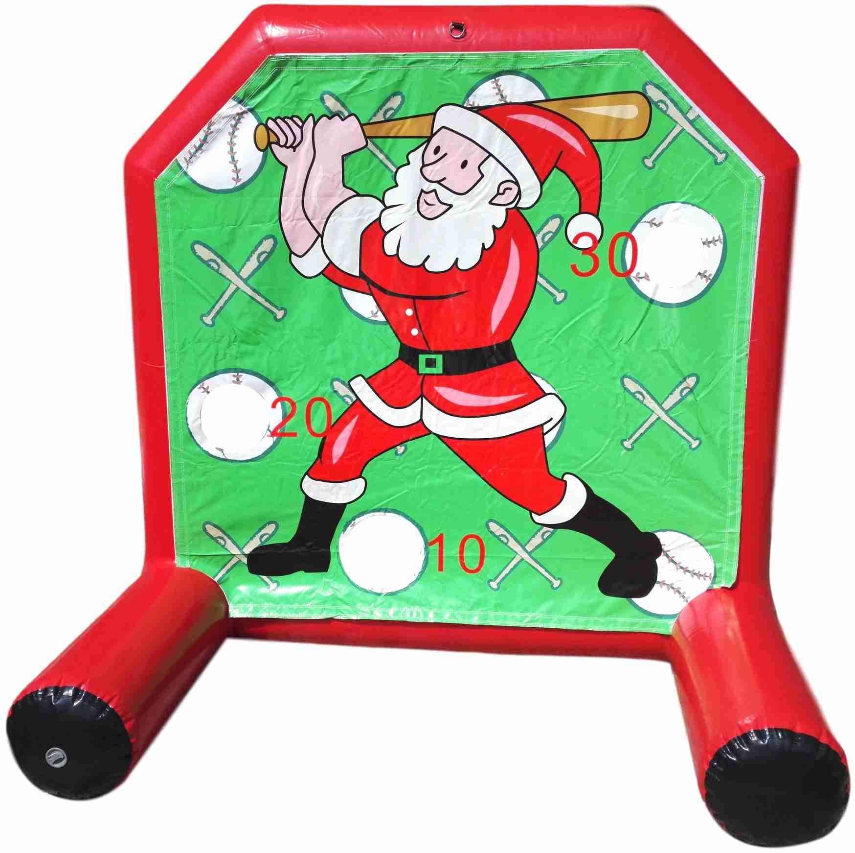 gioco gonfiabile natalizio con babbo natale che gioca a baseball