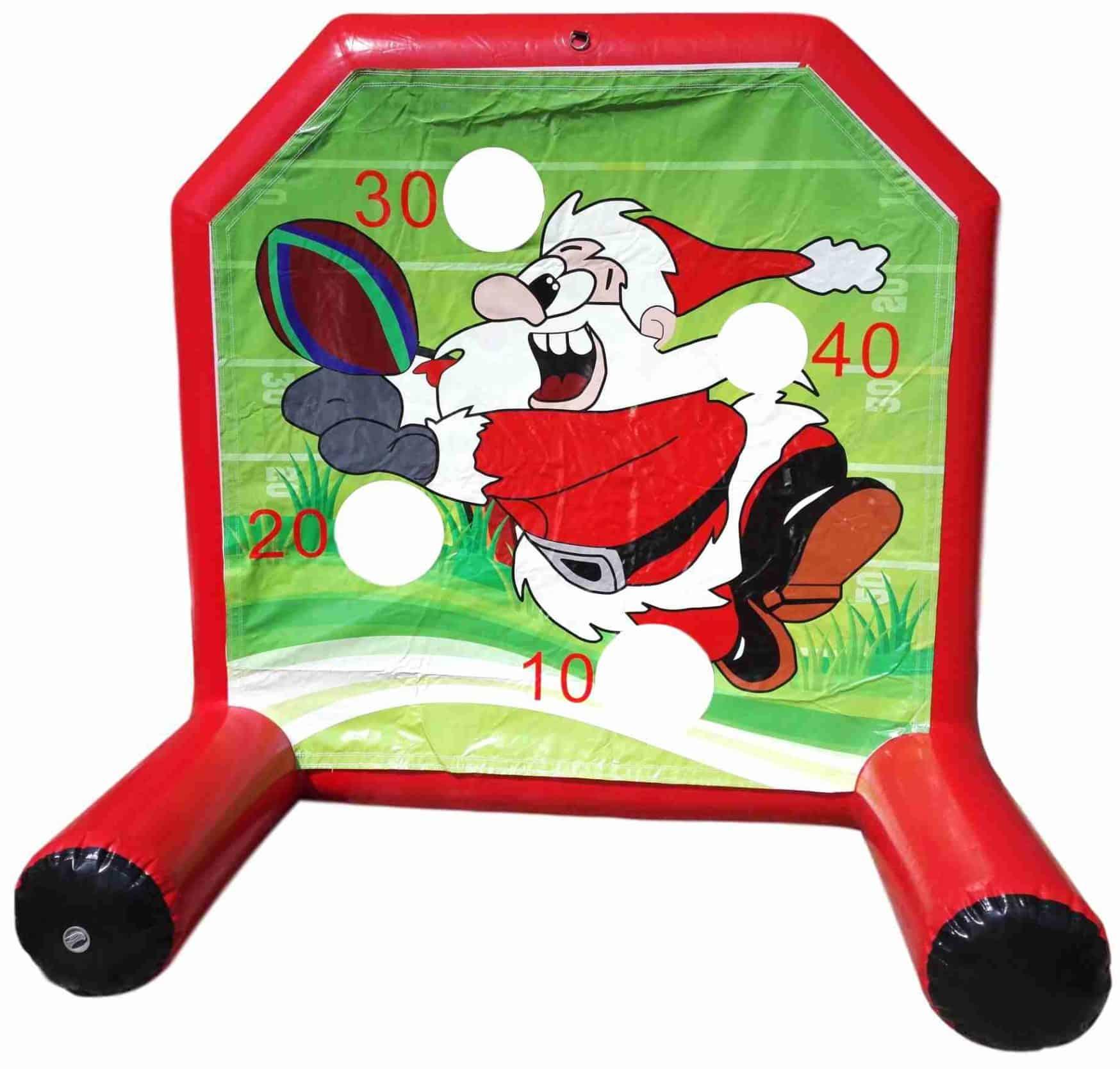 gioco gonfiabile natalizio con babbo natale che gioca a rugby