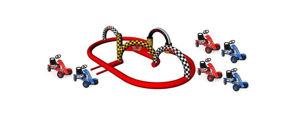 installazione del gonfiabile sportivo pista go kart