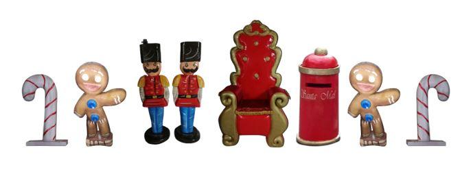trono, cassetta delle lettere, soldatini, omini di marzapane e candies in polistirolo