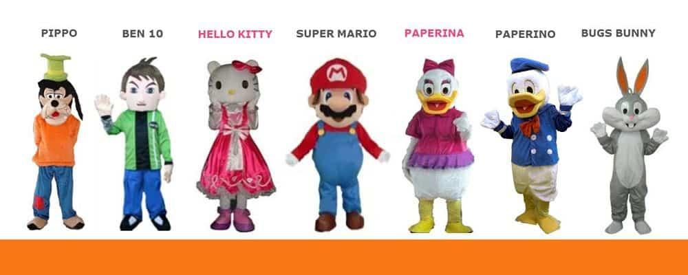 mascotte di cartoni animati per le feste