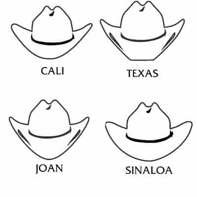 Sagoma di cappelli da cowboy per inviti fai da te.