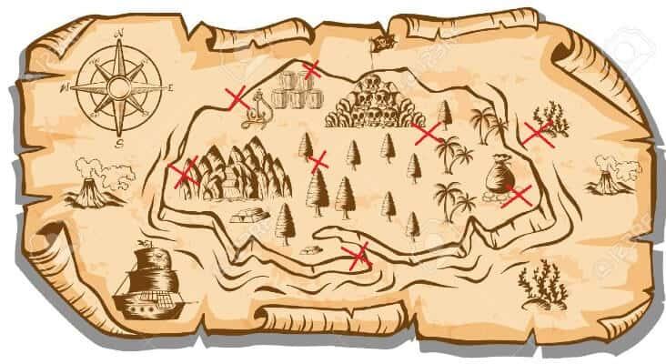 Mappa del tesoro da stampare per caccia al tesoro